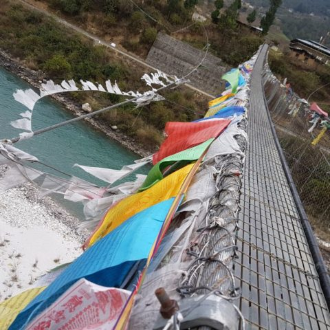 Najdłuższy most wiszący w Bhutanie, fot. Beata Pawlikowska