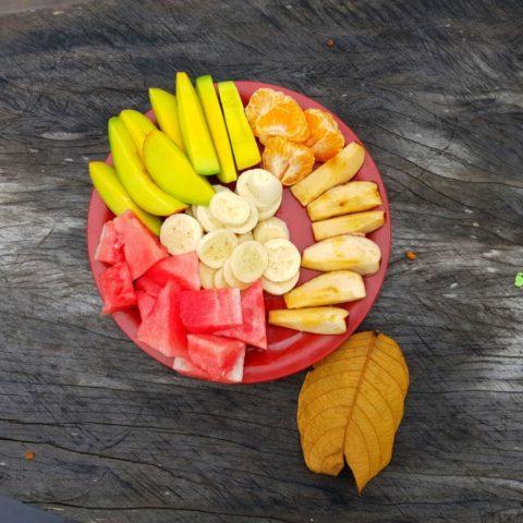 Listopadowe przysmaki w brazylijskiej wiosce: mango, mandarynki, jabłka, arbuz i cudowne tropikalne banany.