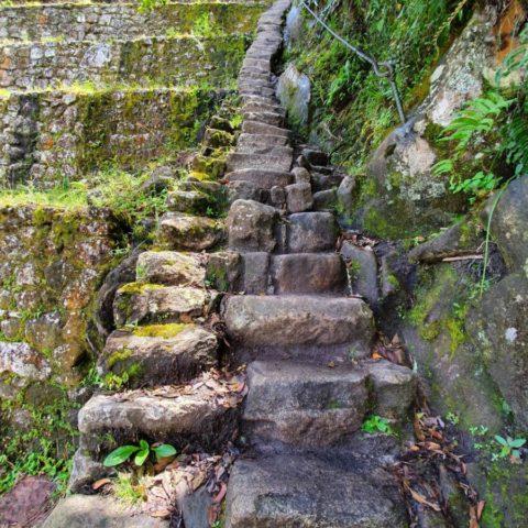 Schodki zbudowane przez Inków, prowadzące na szczyt Huayna Picchu ponad miastem Machu Picchu. Fot. Beata Pawlikowska