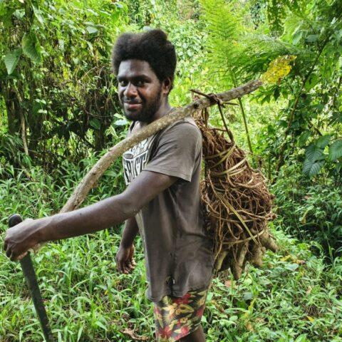 Tubylec spotkany w dżungli z ładunkiem roślin, z których robi się rytualny napój kava.