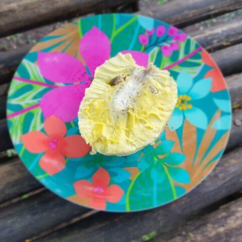 Moje śniadanie – pół pieczonego owocu drzewa bochenkowego
