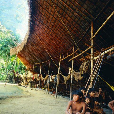 Dom Indian Yanomami zwany shabono, Wenezuela.